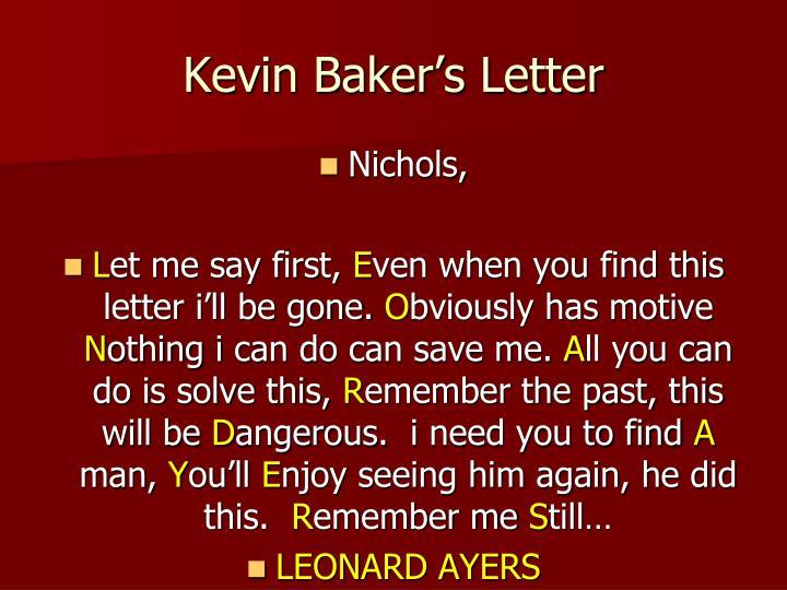 Kevin Baker's Letter