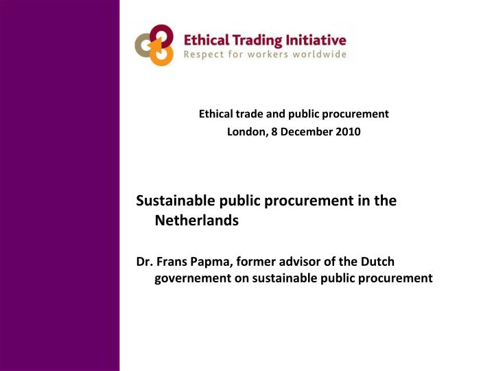 Ethical trade and public procurement