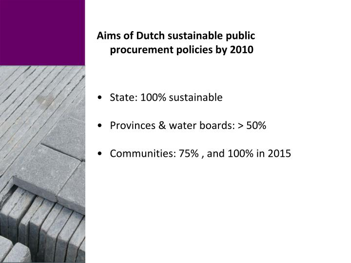 Aims of Dutch sustainable public procurement policies by 2010