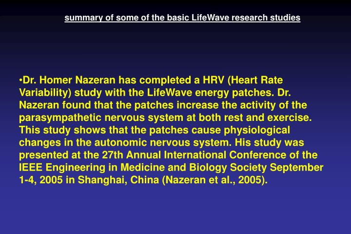 summary of some of the basic LifeWave research studies