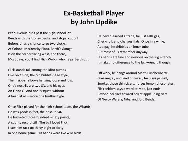 Ex basketball player by john updike