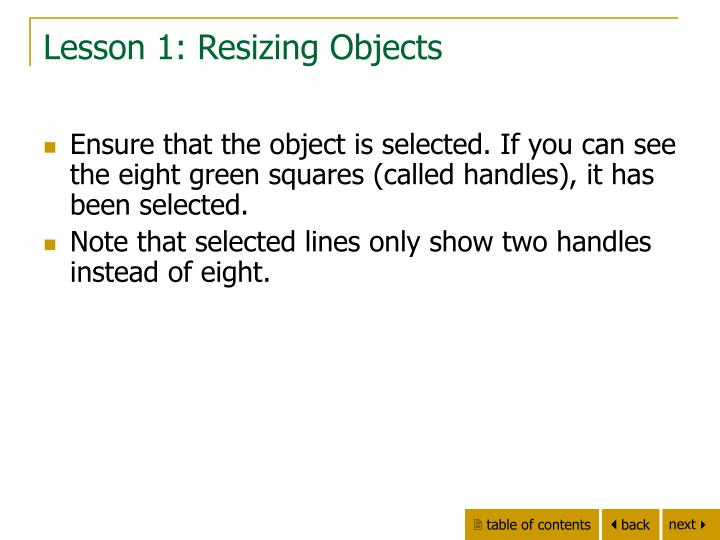 Lesson 1: Resizing Objects