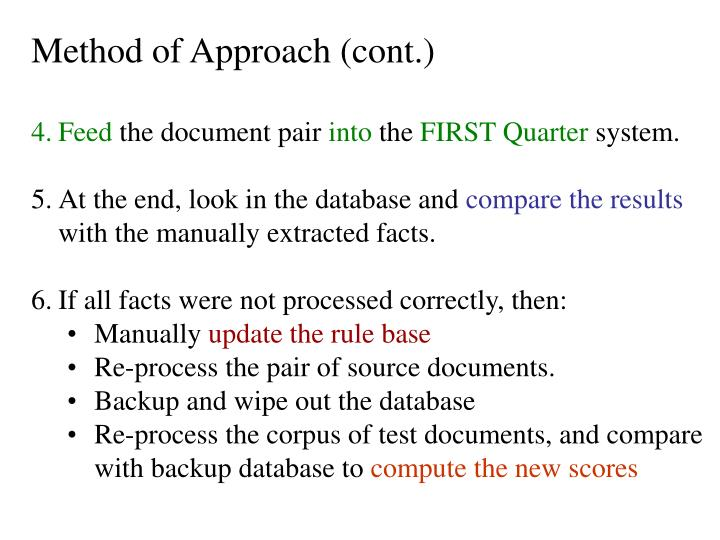 Method of Approach (cont.)