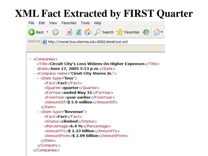 XML Fact Extracted by FIRST Quarter