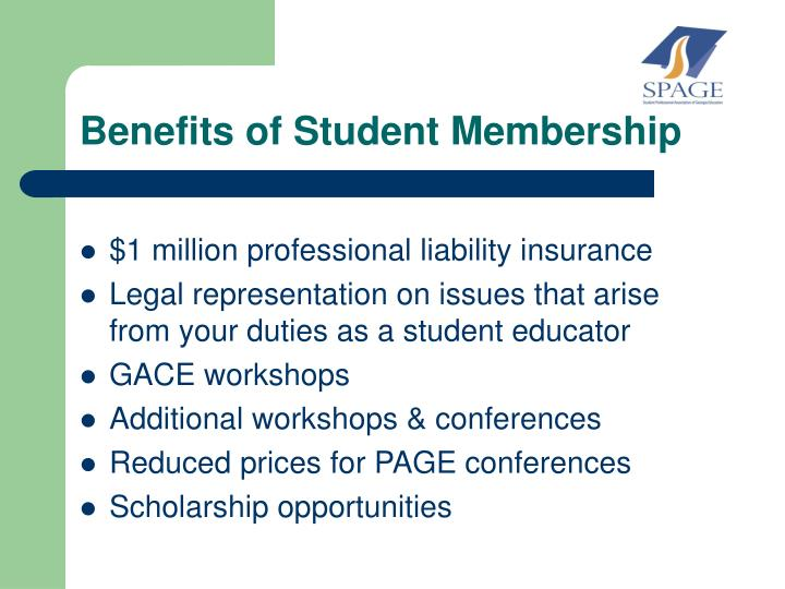 Benefits of Student Membership