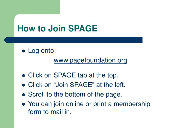 How to Join SPAGE