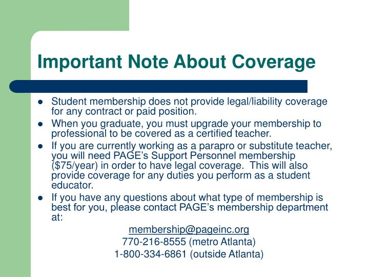 Important Note About Coverage