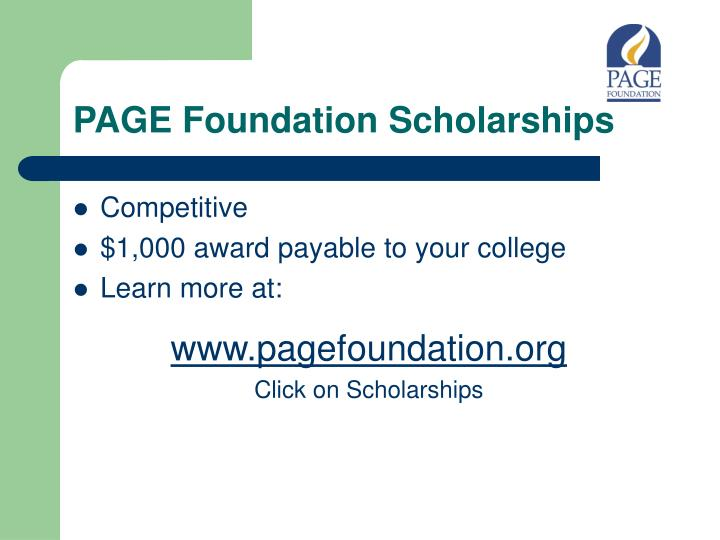 PAGE Foundation Scholarships