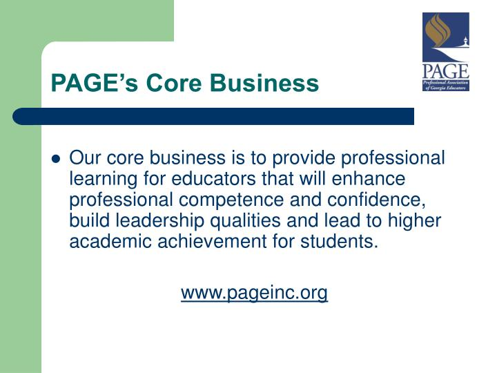 PAGE's Core Business