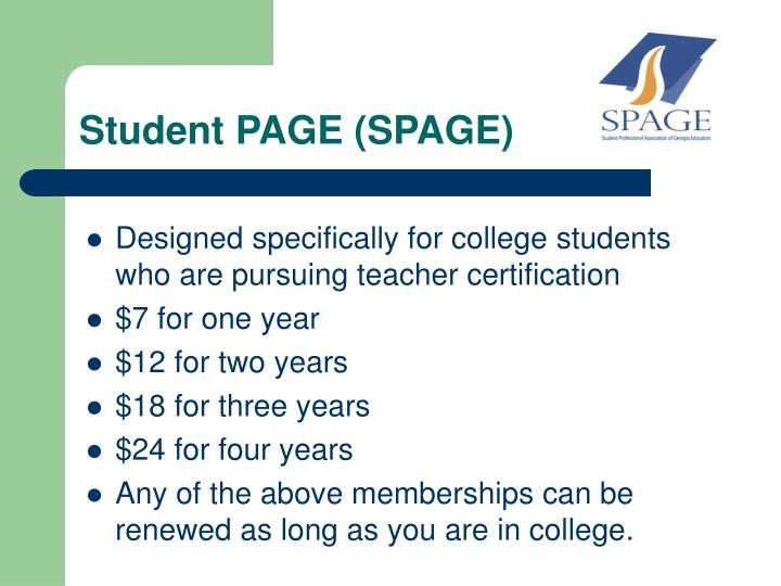 Student PAGE (SPAGE)
