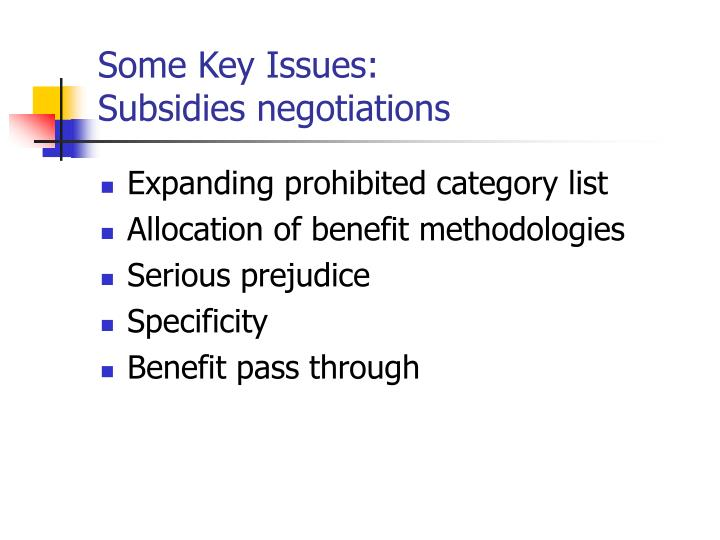 Some Key Issues: