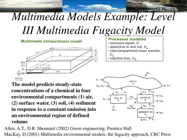 Multimedia Models Example: Level III Multimedia Fugacity Model
