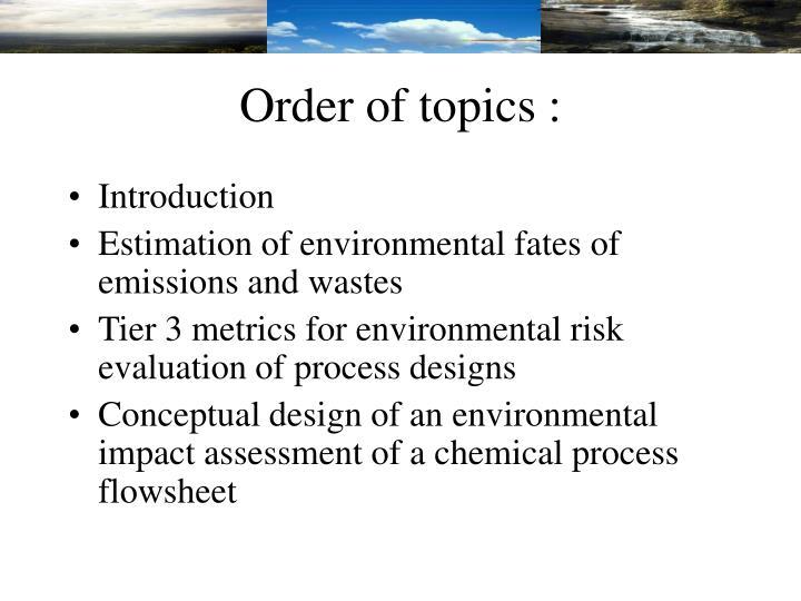 Order of topics :