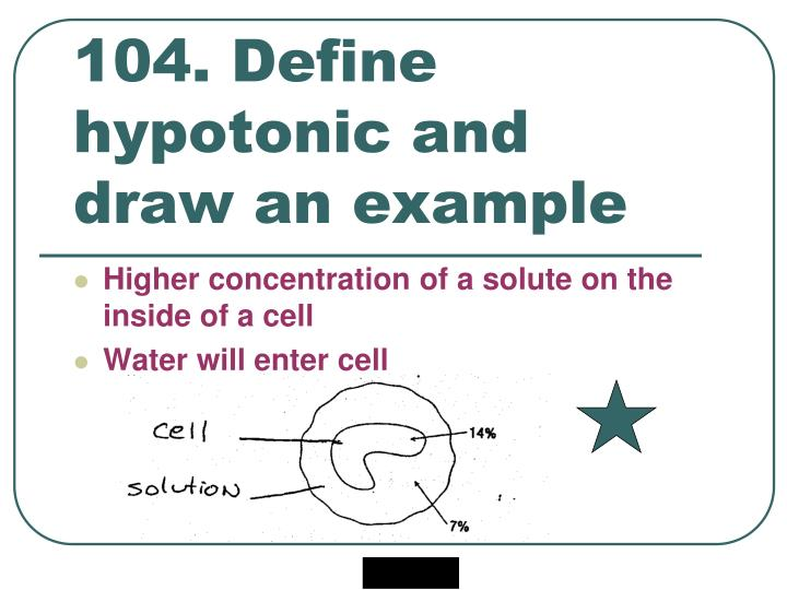 104. Define hypotonic and draw an example