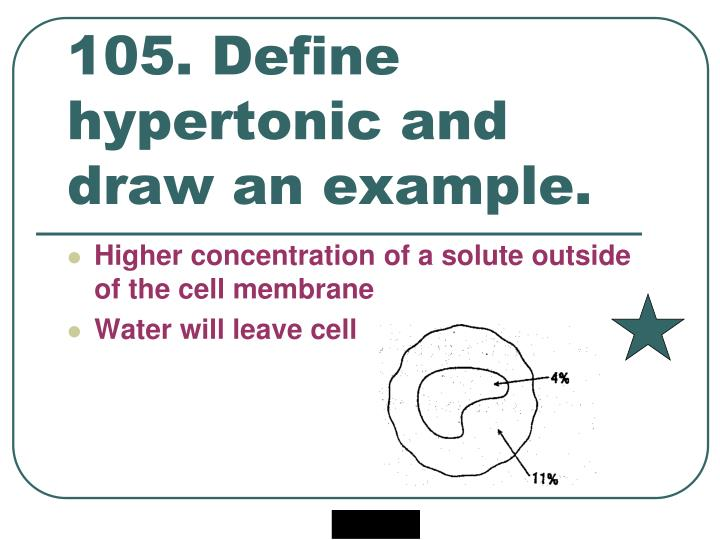 105. Define hypertonic and draw an example.