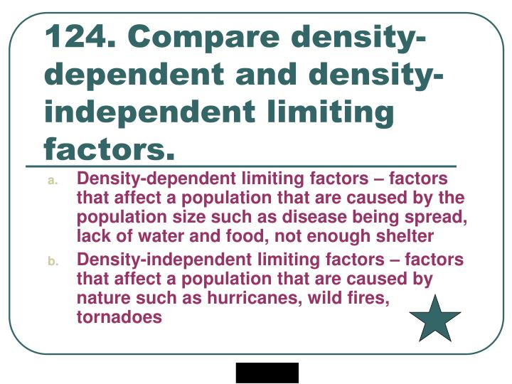 124. Compare density-dependent and density-independent limiting factors.