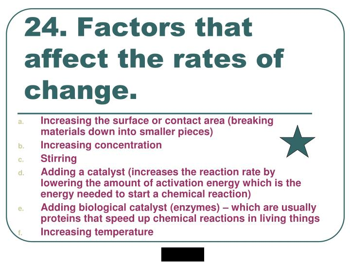 24. Factors that affect the rates of change.