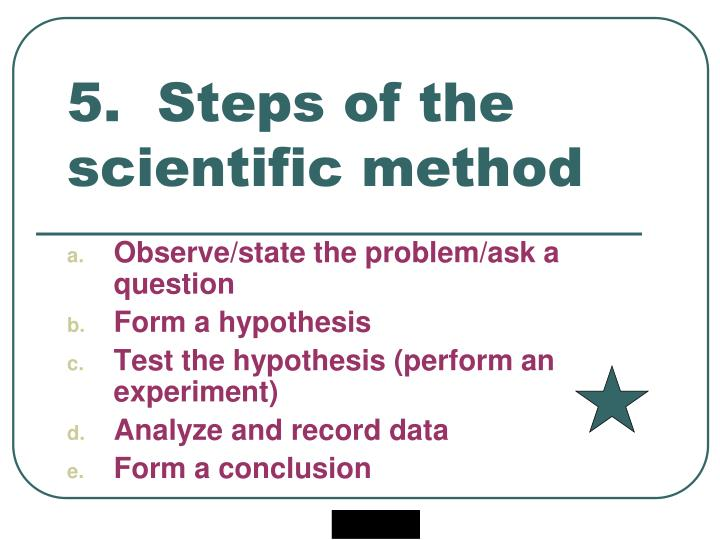 5.  Steps of the scientific method