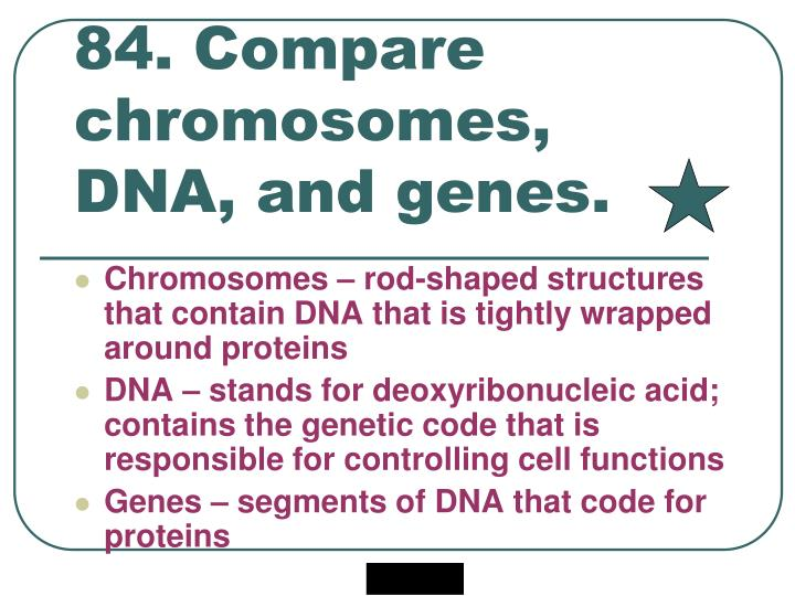 84. Compare chromosomes, DNA, and genes.