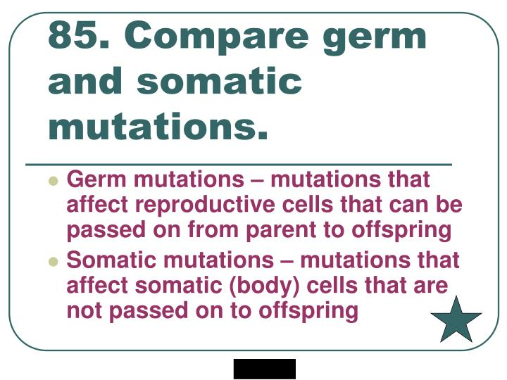 85. Compare germ and somatic mutations.
