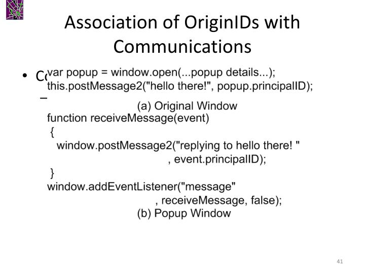 Association of OriginIDs with Communications