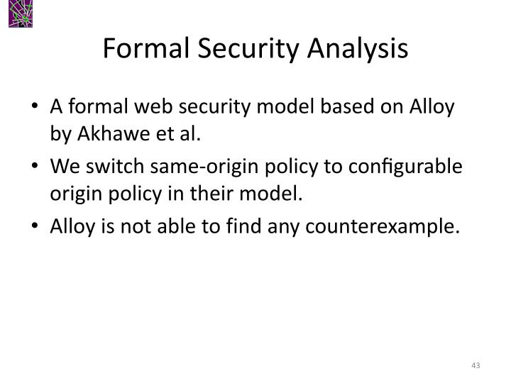 Formal Security Analysis