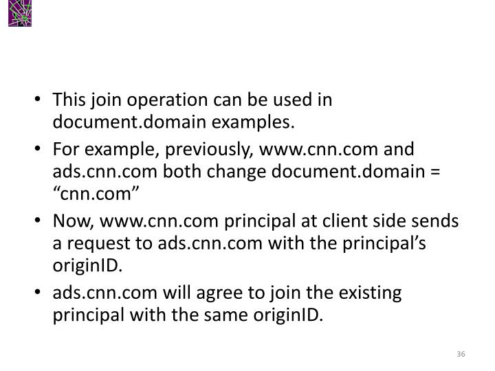 This join operation can be used in document.domain examples.