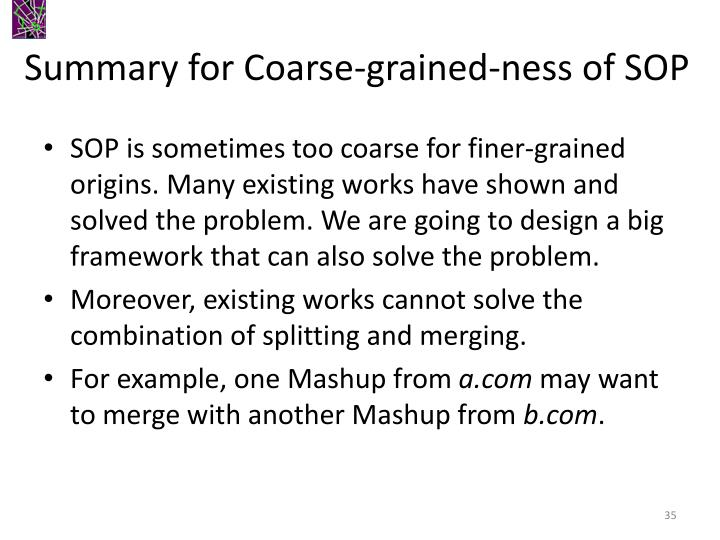 Summary for Coarse-grained-ness