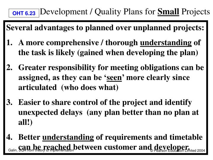 Development / Quality Plans for