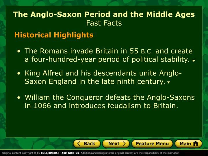 The anglo saxon period and the middle ages fast facts