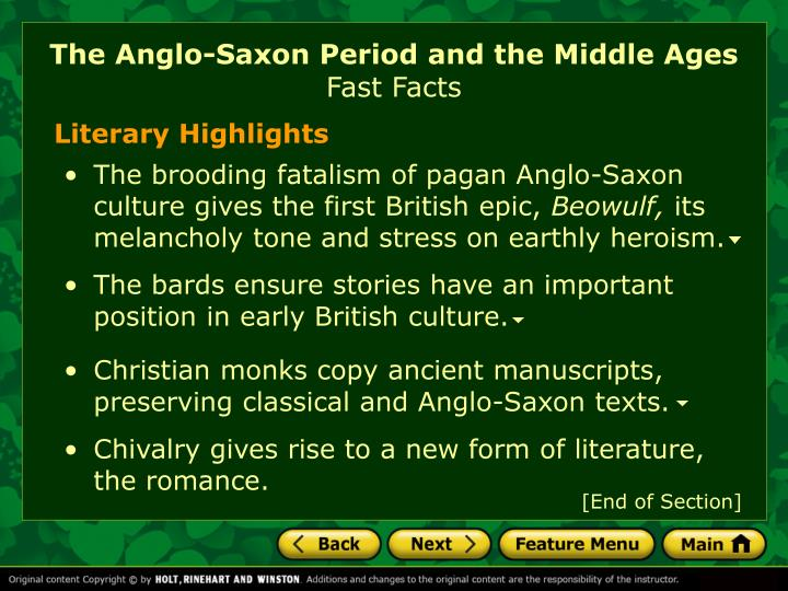 The anglo saxon period and the middle ages fast facts1