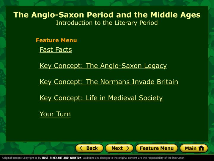 The anglo saxon period and the middle ages introduction to the literary period