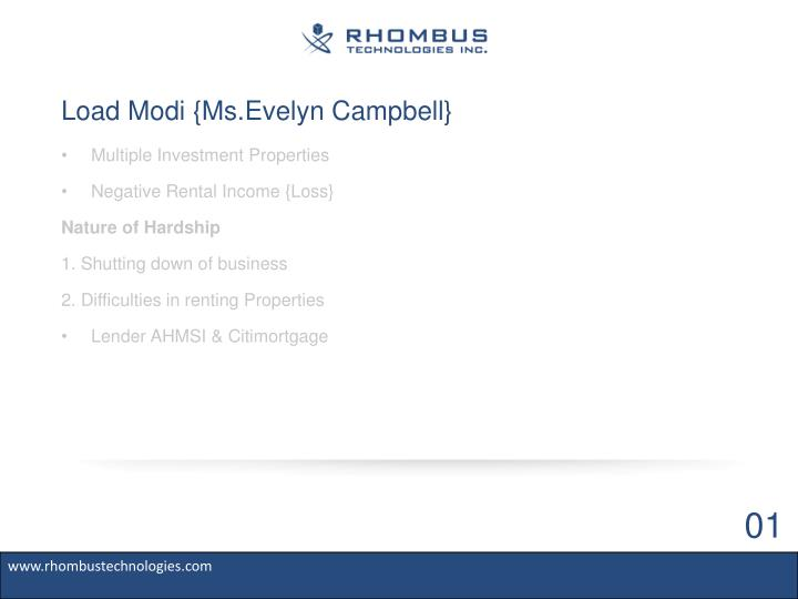 Load modi ms evelyn campbell