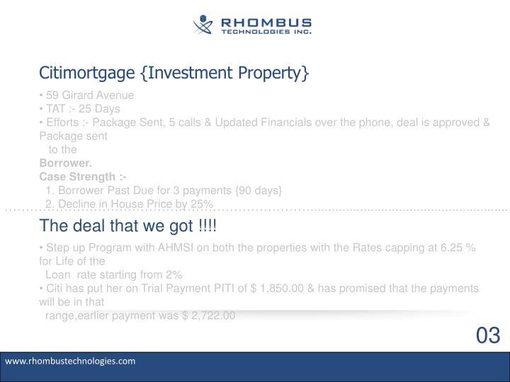 Citimortgage {Investment Property}