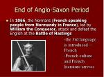 end of anglo saxon period