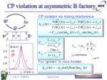cp violation at asymmetric b factory