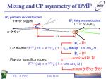 mixing and cp asymmetry of b 0 b 0