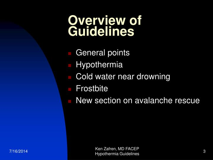 Overview of guidelines