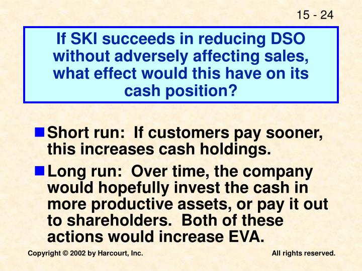 If SKI succeeds in reducing DSO without adversely affecting sales,
