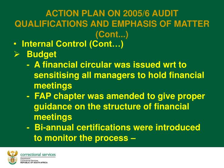 Internal Control (Cont…)