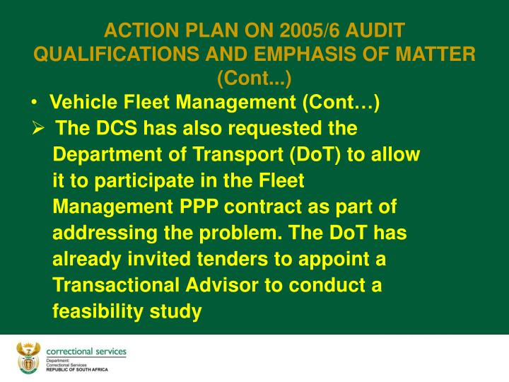 Vehicle Fleet Management (Cont…)
