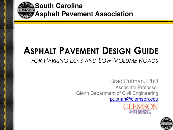 asphalt pavement design guide for parking lots and low volume roads