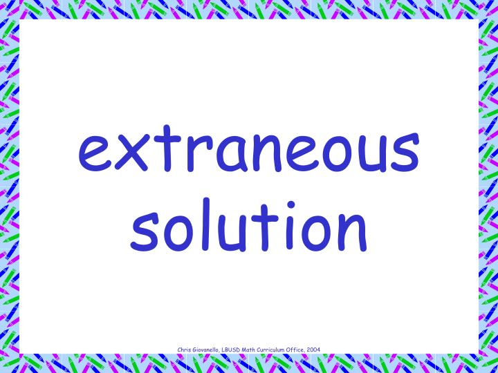 extraneous solution