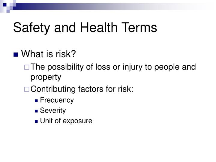 Safety and Health Terms