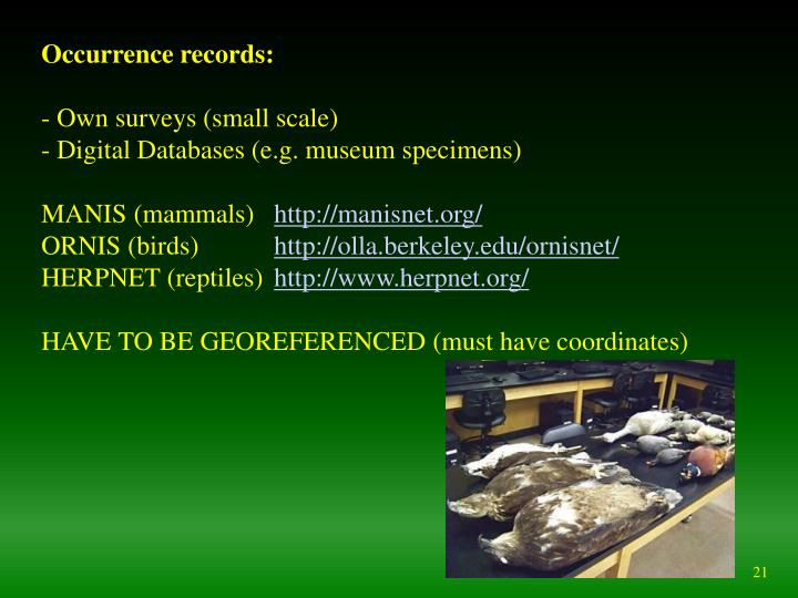 Occurrence records: