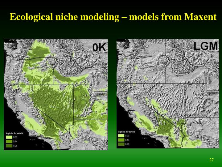 Ecological niche modeling – models from Maxent