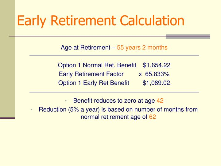 Early Retirement Calculation