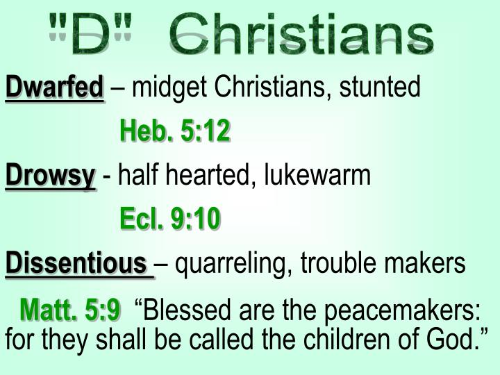 """""""D""""  Christians"""