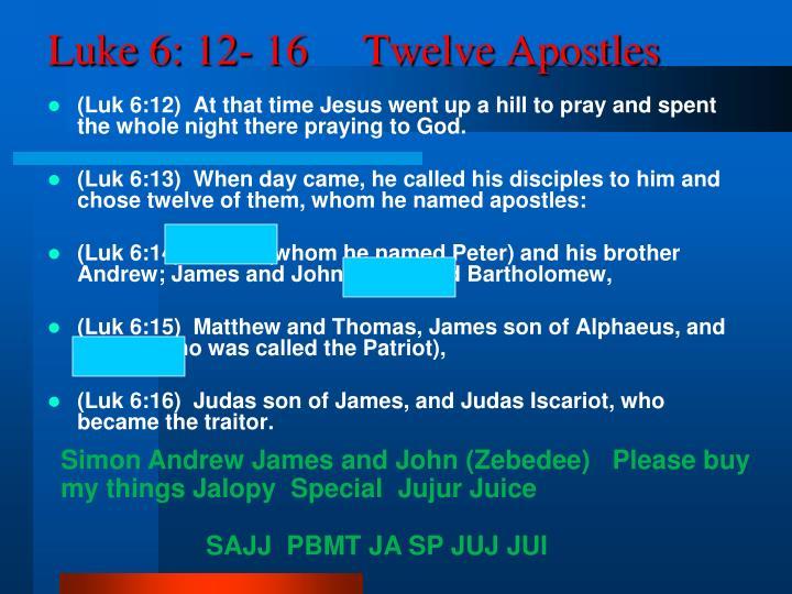 Luke 6: 12- 16