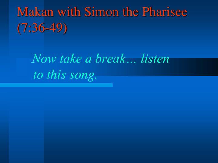 Makan with Simon the Pharisee (7:36-49)